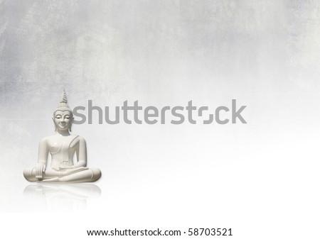 Grunge background with white buddha - stock photo