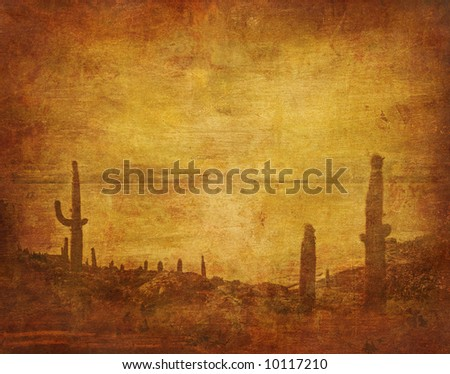 grunge background with wild west landscape - stock photo