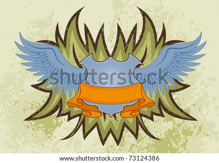 Grunge background with wings, element for design, illustration