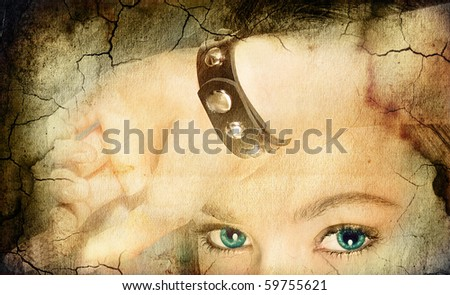 grunge background with woman face - stock photo