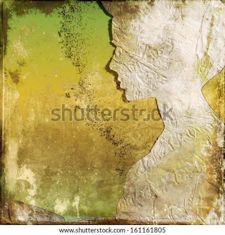 Grunge background with woman profile  - stock photo