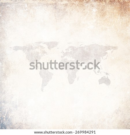 Grunge background with world map - stock photo
