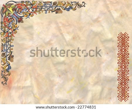 grunge backround parchment with celtic design - stock photo