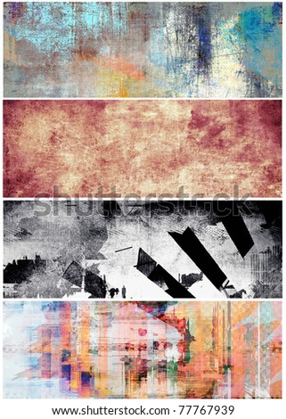 Grunge banners set - stock photo