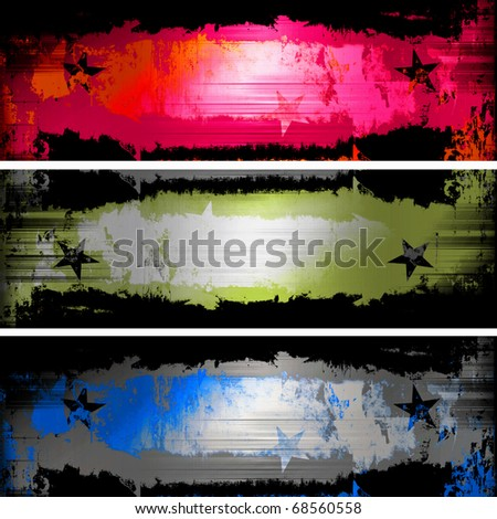 Grunge Banners Set With Stars - stock photo