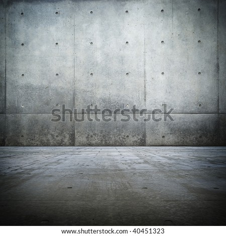 Grunge bare concrete room - stock photo