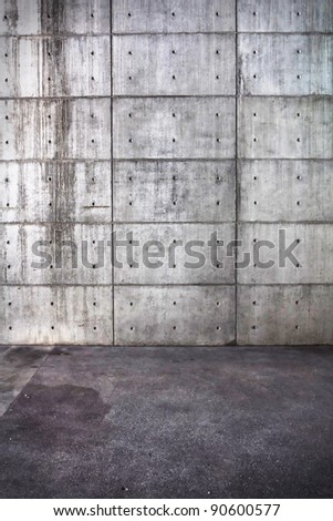 Grunge bare concrete room. interior Uneven diffuse lighting version. Design component