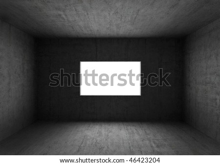 Grunge bare concrete room with window hole - stock photo