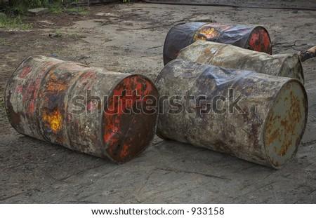 grunge barrels in the backyard - stock photo