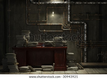Grunge basement with desk and lots of stacked files as concept for office slave. Check my gallery for more images of the kind. - stock photo