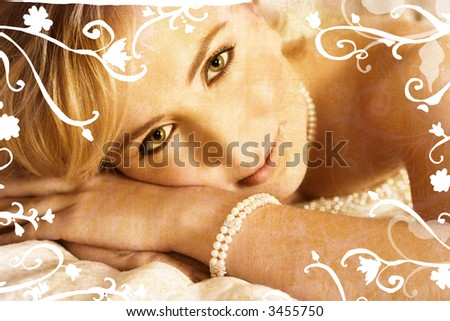 Grunge beautiful blond bride on rich texture with swirls, she has pearl jewelry - stock photo