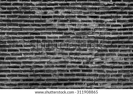 Grunge Black and white brick wall background with copy space
