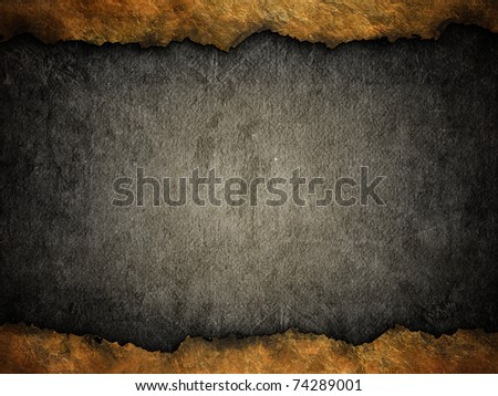 grunge black background with ripped golden edges