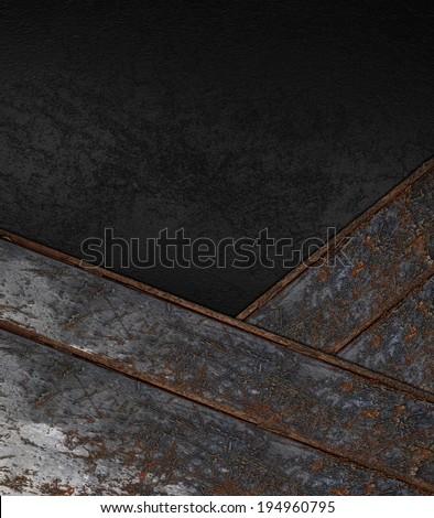 Grunge black background with rusty metallic strip. Design template. Design site - stock photo