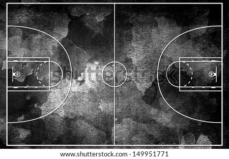 Grunge black Basketball court - stock photo