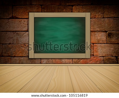 grunge black chalkboard on old brick wallbackground