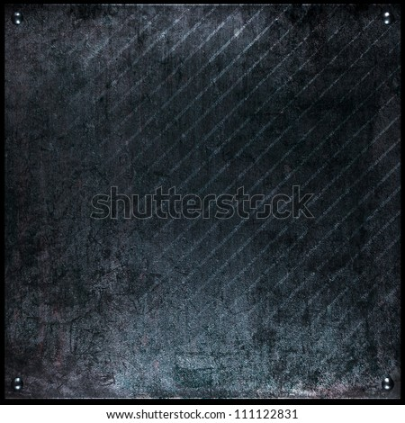 grunge black metal plate or background - stock photo