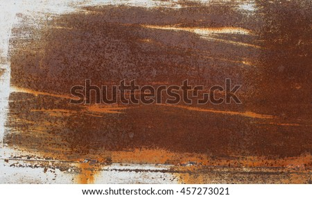 Grunge blank name board concept - old brass dirty rusted iron metal plate with white strokes - stock photo