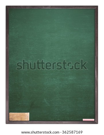 Grunge blank old wood green board or dirty slate board, blackboard eraser. Isolated on white background. Food Menu List Calendar Classroom Training Remind Drawing Preaching Chalk Notice Mockup concept - stock photo
