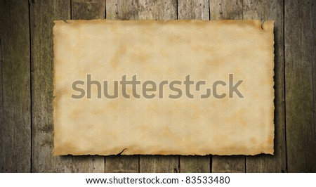 Grunge blank paper on wooden background - stock photo