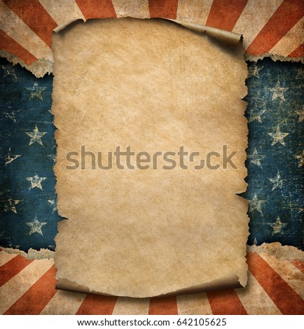 Grunge blank paper parchment declaration over stock illustration grunge blank paper parchment or declaration over usa flag independence day template 3d illustration publicscrutiny Image collections