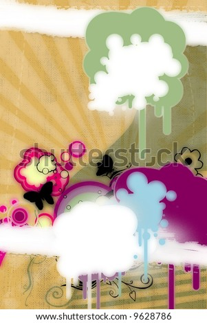 grunge blots and butterflies on retro background - stock photo