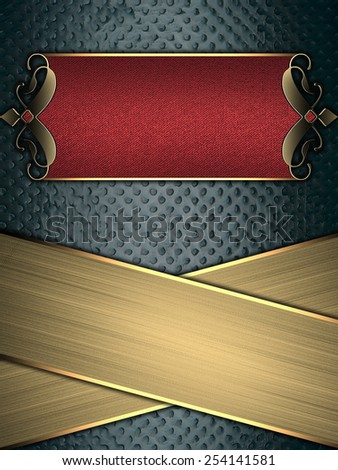 Grunge blue background with gold stripes and a red sign with gold decoration. Template for design. Template for the site - stock photo