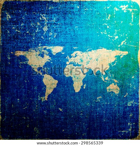 Grunge blue background with world map - stock photo