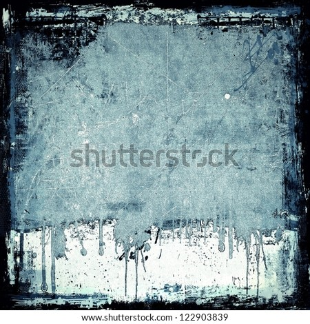 Grunge blue dripping background - stock photo