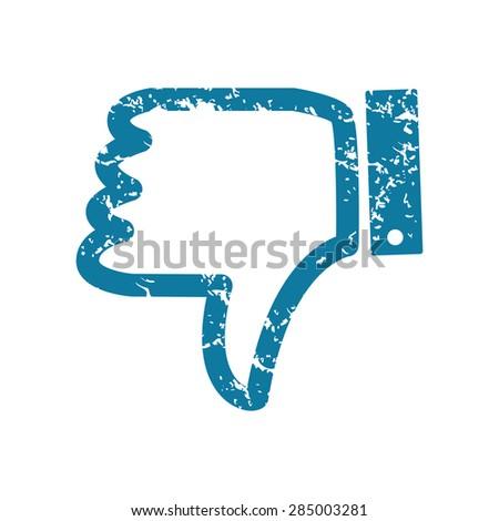 Grunge blue icon with dislike symbol, isolated on white - stock photo