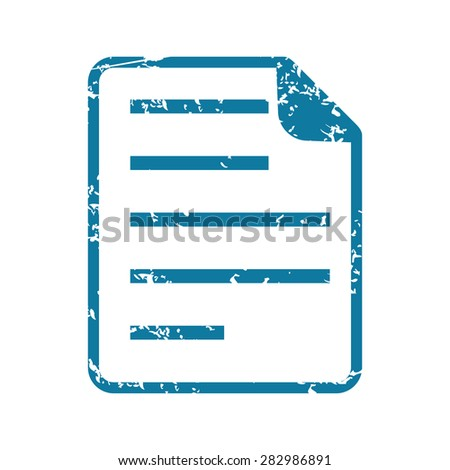 Grunge blue icon with image of document, isolated on white