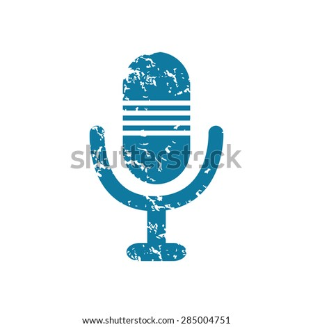 Grunge blue icon with image of microphone, isolated on white - stock photo