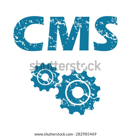 Grunge blue icon with text CMS and two gears, isolated on white - stock photo