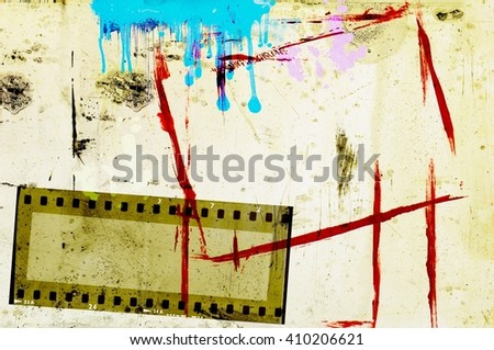 Grunge  blue, sepia and red film strip frame background. - stock photo