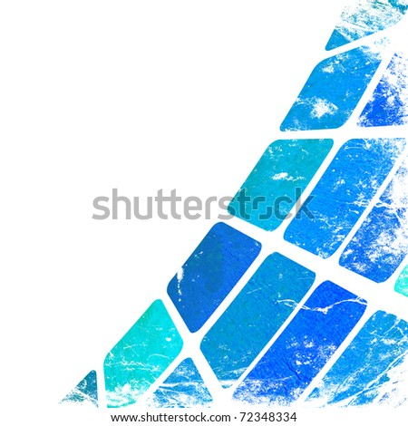 grunge blue squares on a white background - stock photo
