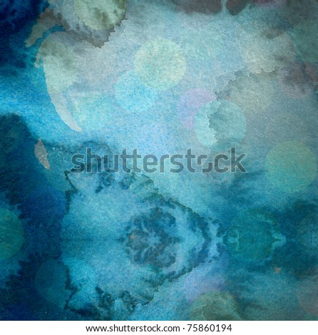grunge blue watercolor background with washes and runs - stock photo
