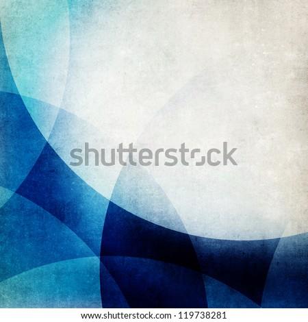 Grunge blue waves background - stock photo