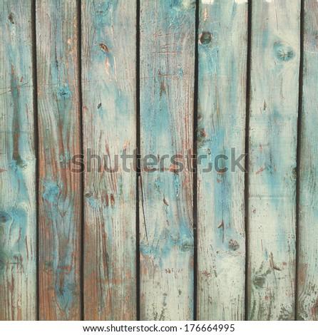 Grunge blue wooden background - stock photo