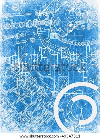 grunge blueprint texture 1 - stock photo