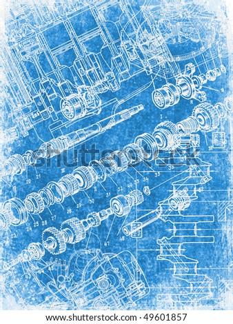grunge blueprint texture 2 - stock photo