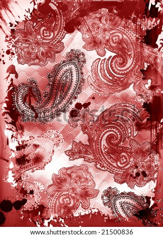 Grunge bohemian paisley tapestry with rich colors and embossed texture - stock photo