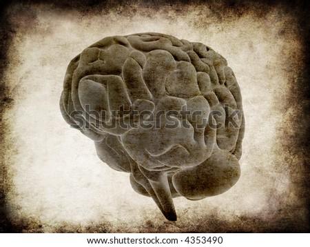 grunge brain - stock photo