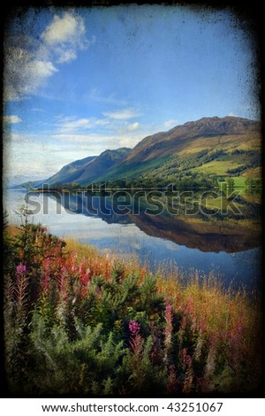 grunge breathtaking scenic nature mountain water landscape - stock photo