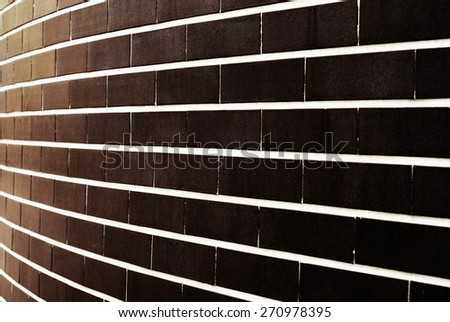Grunge brick rick wall with diminishing perspective texture background - stock photo