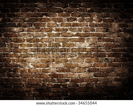 grunge brick wall background - stock photo