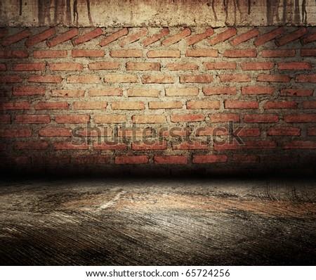 grunge brick wall room - stock photo