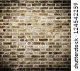 Grunge brick wall, square photograph with vignette - stock photo