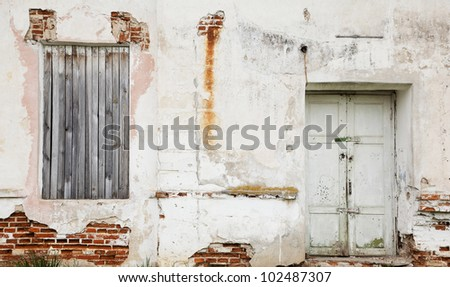 Grunge bricks wall with door and wooden closed window