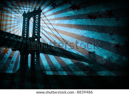 Grunge Bridge - stock photo