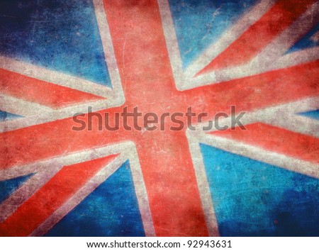 Grunge British flag - stock photo